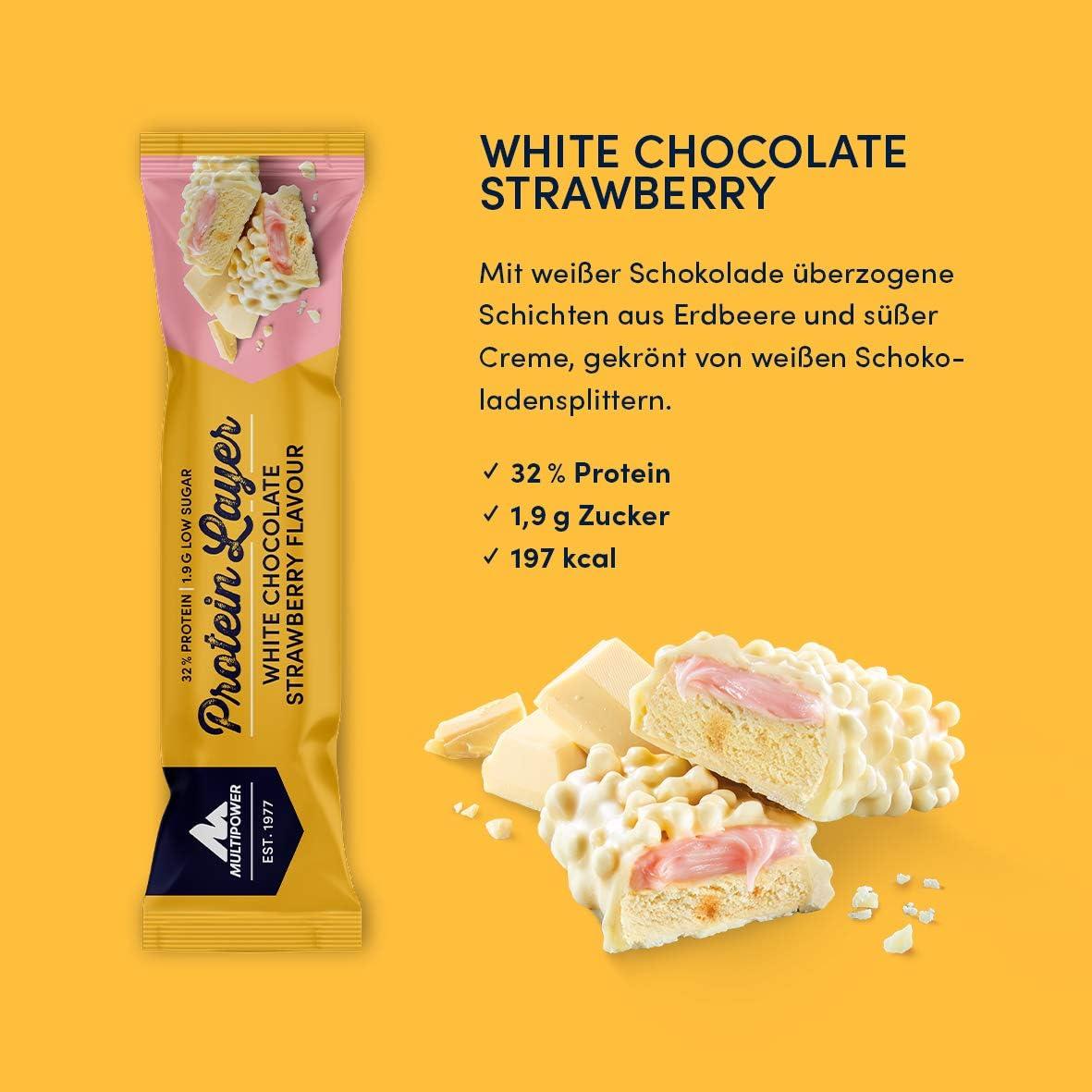 Multipower Protein Layer Bar, 18 x 50 g Riegel (White Chocolate Strawberry)