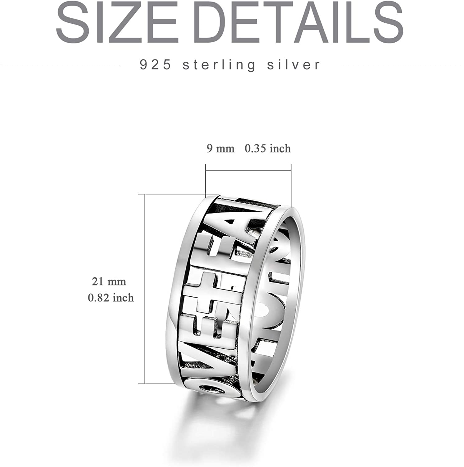 Oxidized Silver Religious Jewelry for Women Ladies Size 6-10 PEIMKO Vintage Sterling Silver Faith Hope Love Band Rings