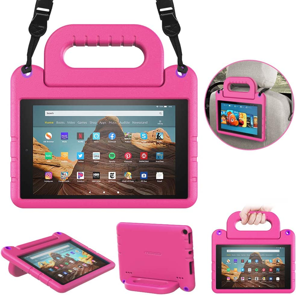 MoKo Kids Case Fits Fire HD 10 Tablet (7th/9th Generation, 2017/2019 Release), Shockproof EVA Kid-Friendly Protective Shell Convertible Handle Stand Cover Case with Shoulder Strap - Magenta