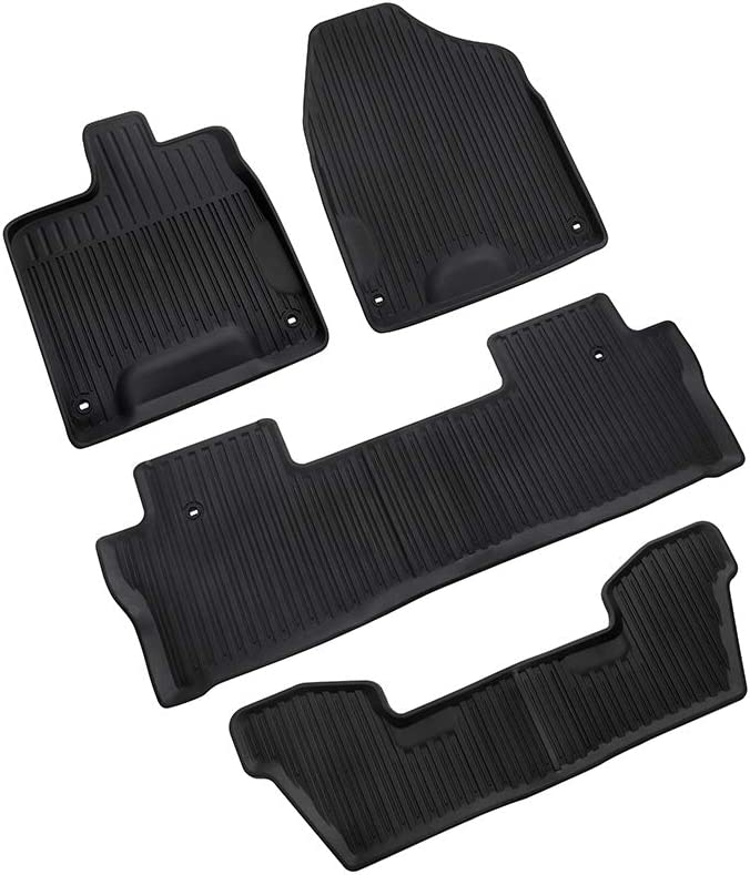 MotorFansClub Floor Mats Liners Fit for Compatible with Honda Pilot 2016 2017 2018 2019 2020 Cargo Carpet All Weather Protector Front Rear Mats TPE Black