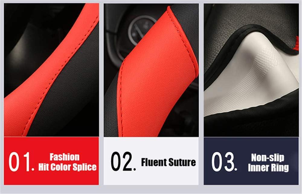 Linster CC Neues Leder Auto Lenkradabdeckung Vier Jahreszeiten Universal Fashion Slip Atmungsaktive Lenkradabdeckung Mikrofaser Leder 15 Zoll 38 cm Lenkradmanschette F/ür Autos Gel/ändewagen LKWs