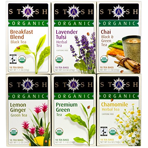 Stash Tea Organic Tea Six Flavor Assortment, 18 Count Tea Bags in Foil (Pack of 6) (Sampler Tea Stash Organic)