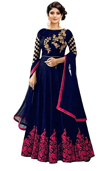 Buy Shree Khodal Art Blue Butta Semistitched Long Anarkali Gown At