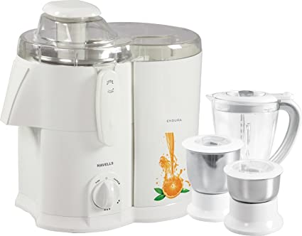 c373241276 Buy Havells Endura GHFJMAHW050 500-Watt Juicer Mixer Grinder with 3 Jars  (White) Online at Low Prices in India - Amazon.in