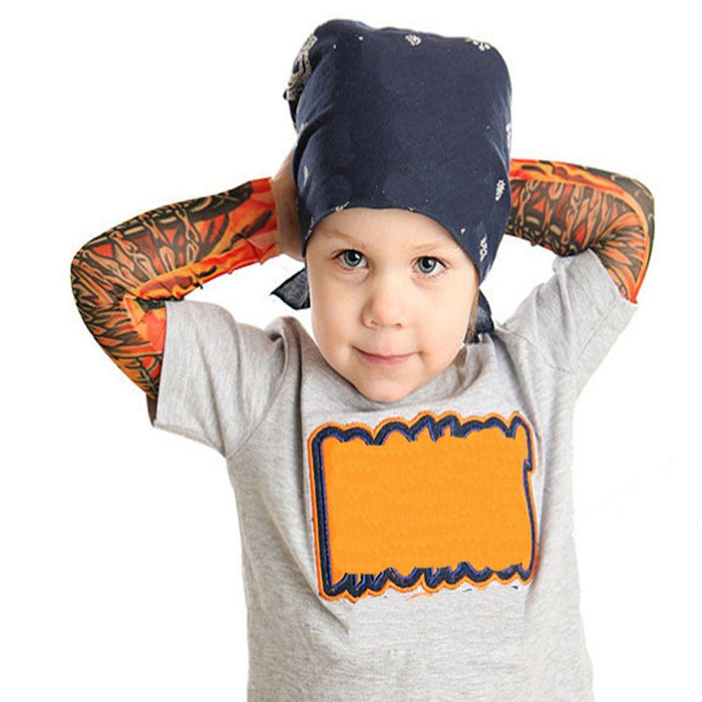 Meijunter 2Pcs I manicotti dei bambini fissano il braccialetto speciale del braccio del tatuaggio della protezione solare del fumetto del braccialetto Stile 1