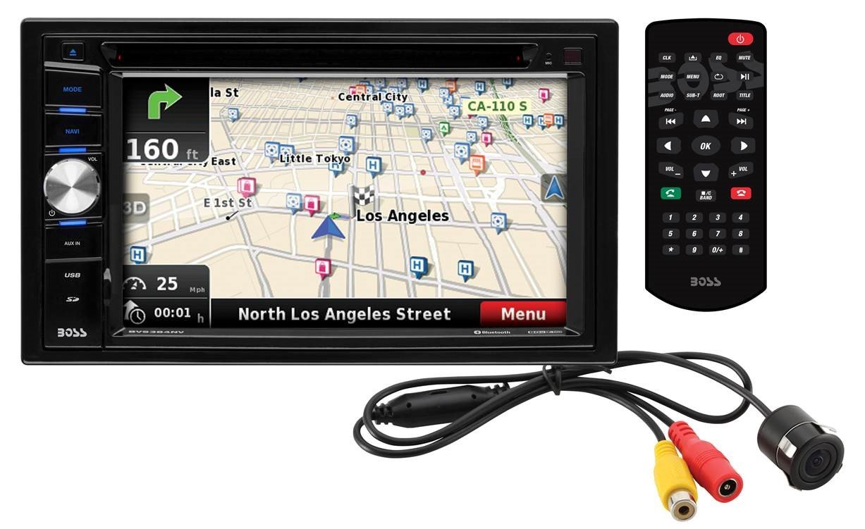 Car Navigation | BOSS Audio BVNV9384RC Double Din, 6.2 Inch Digital LCD Monitor, Touchscreen, DVD/CD/MP3/USB/SD AM/FM, Bluetooth, Navigation/GPS, Wireless Remote, Rear Flush-Mount Camera Included
