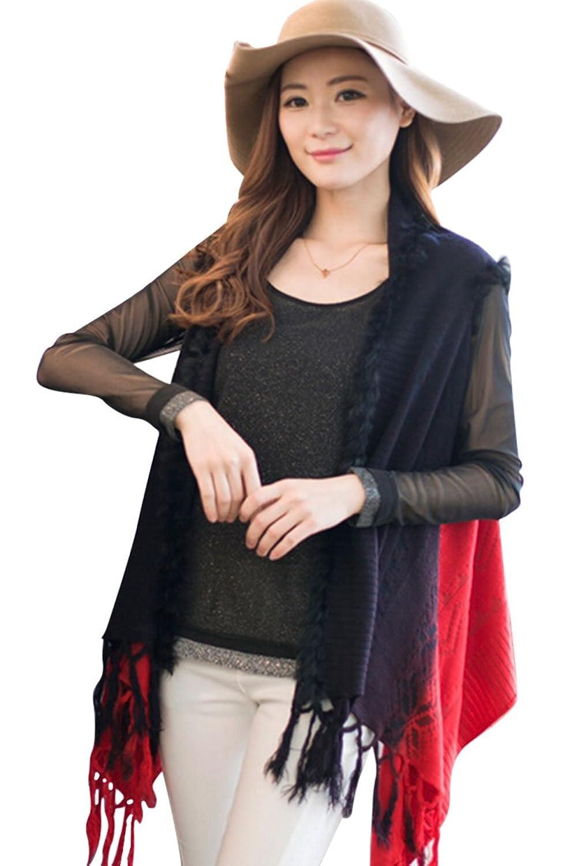 Pink Queen@Women's Color Block Tassel Vest Shawl Cloak Cardigan