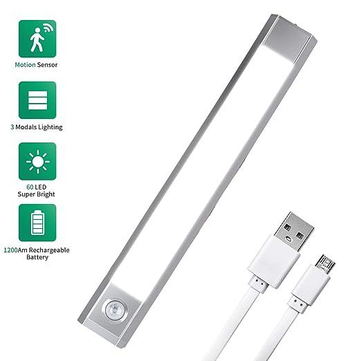 Luz LED Armario con Sensor de Movimiento, USB Recargable Bateria ...