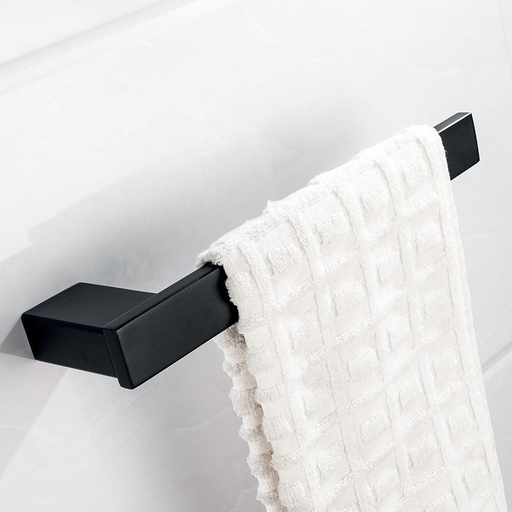 VELIMAX SUS304 Stainless Steel Towel Holder Towel Ring Hand Towel Holder Wall Mounted Towel Hanger Contemporary Style Matte Black