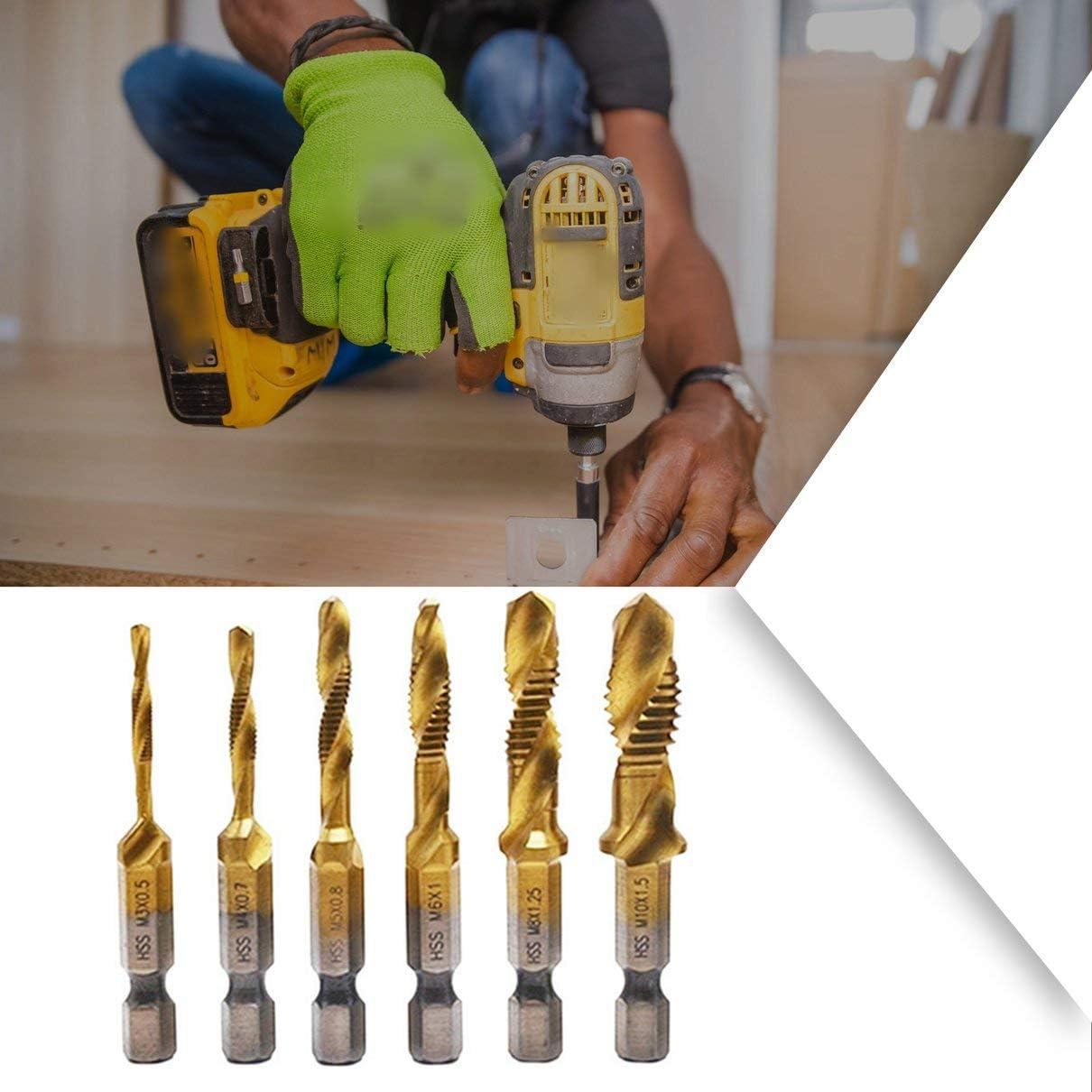 Kaczmarek 6pcs//Set Hand Tap Hex Shank Tapping Drill Bit High Speed Steel Multifunctional Integrated Tap,Metric Plug Drill Bits M3 M4 M5 M6 M8 M10 Hand Tools