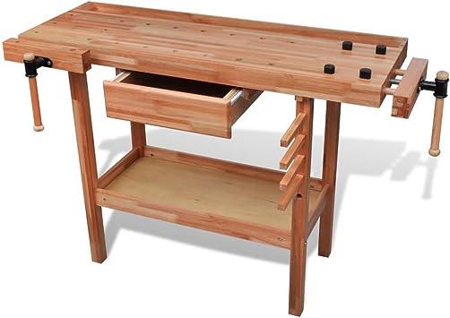 vidaXL 140905, Banco de trabajo de madera taller carpintería con ...