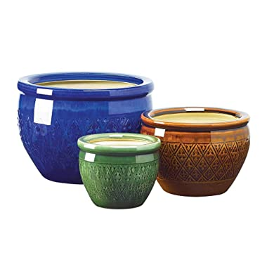 Garden Planters Round Bright Colored Ceramic Flower Pots Large Meduim Small Indoor Outdoor Decor Set of 3 Decorative