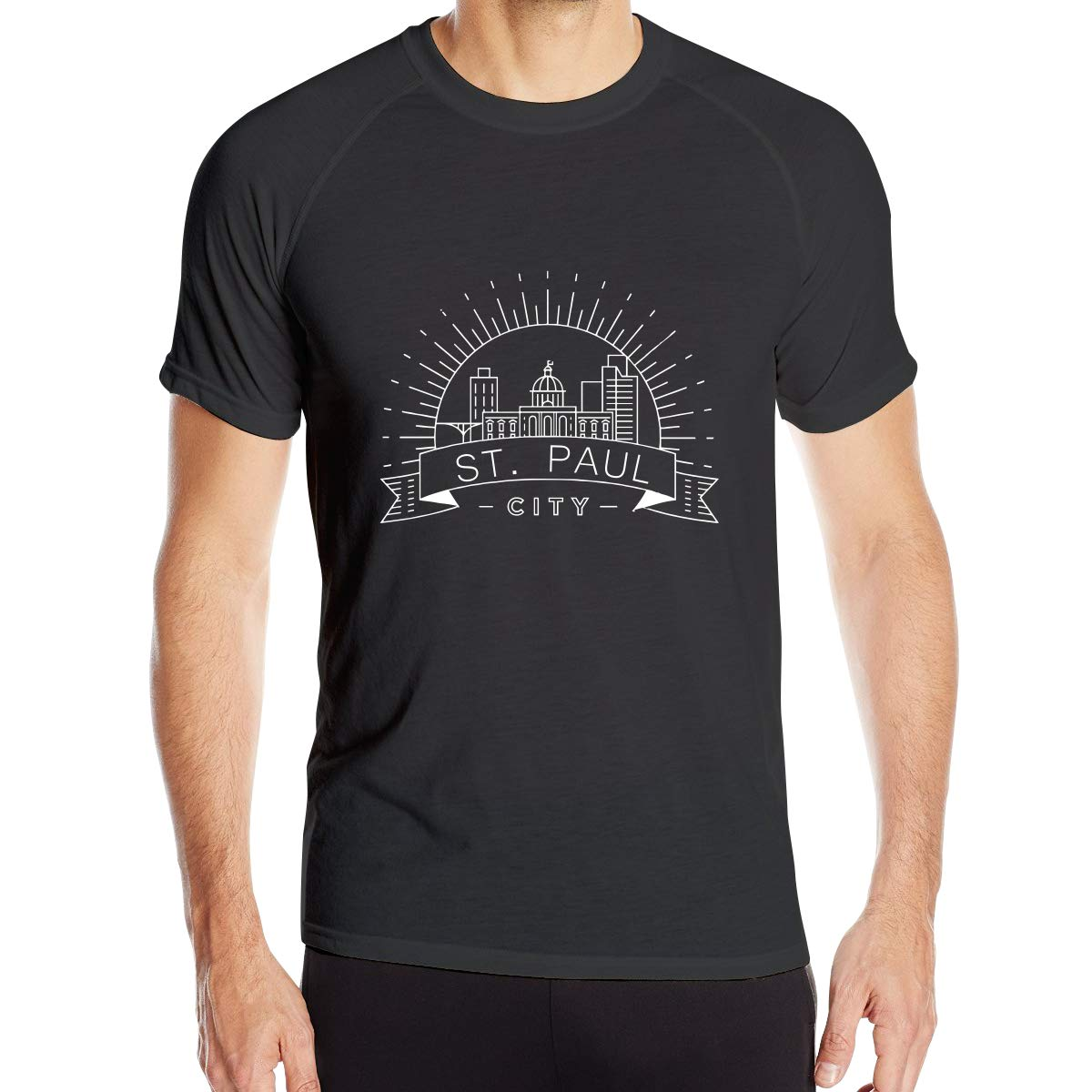 Mens St Paul City Skyline Sketch Architecture Quick Dry Athletic Shirts Short Sleeve Dri Fit Casual Workwear