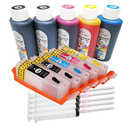 Botella de tinta de 5x100ml y kits de tinta recargable PGI-570 CLI-571 Compatible para Canon Pixma TS5050 TS5051 TS5052 TS5053 T6051 TS6052 MG6050 ...