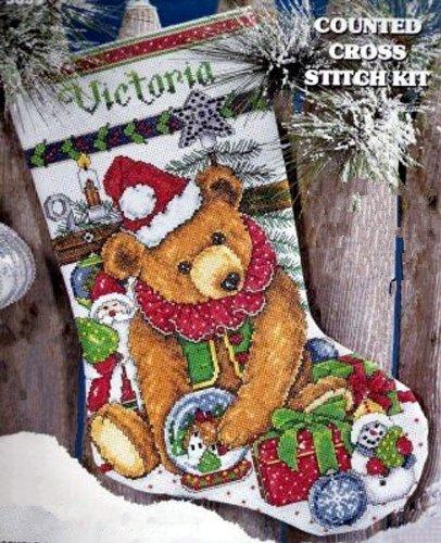 Design Works VICTORIAN BEAR STOCKING' Cross Stitch Kit