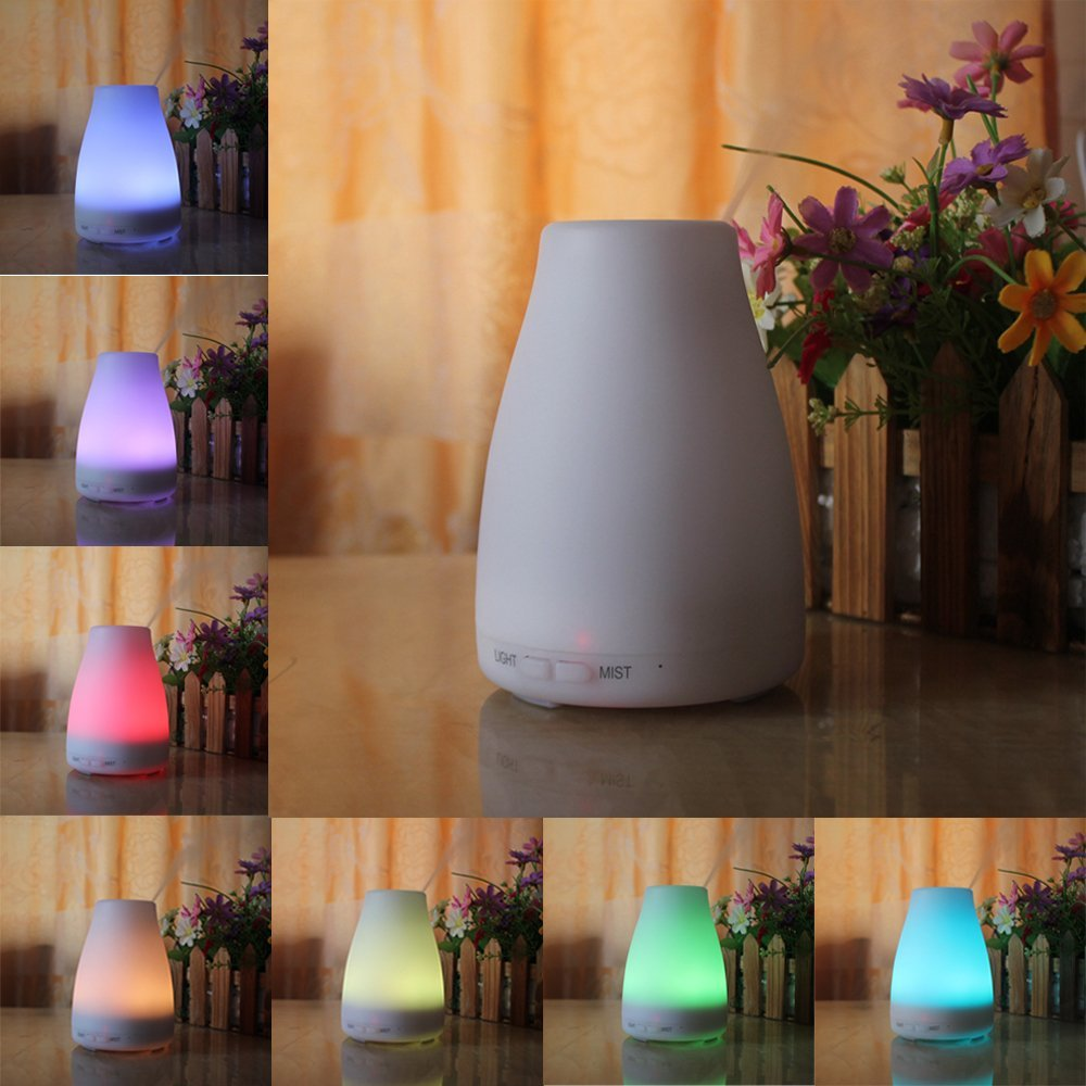 120ml Aroma Essential Oil Diffuser, Enegg Ultrasonic Air Mist Humidifier with Waterless AUTO Shut off, Adjustable Mist & 7 Color LED Lights for Home SPA Baby Bedroom Gym Yoga Office Young Living