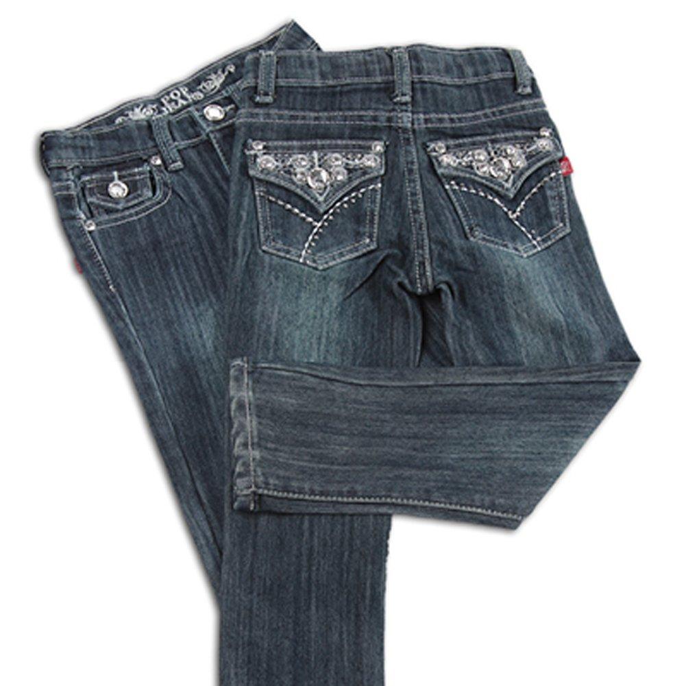 Toddler Girls Glamorous Jeans Light and Dark Wash Adjustable Waistband (3T, Light Wash)