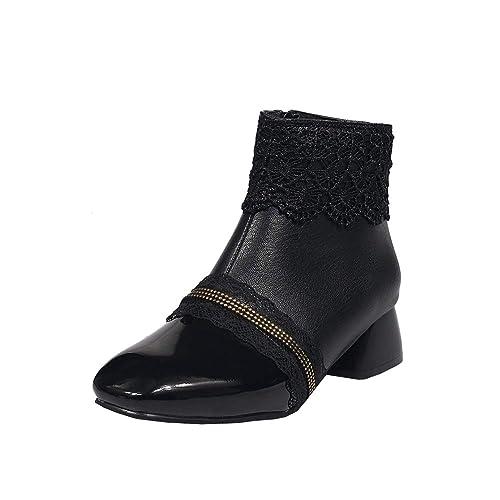 Chaussures Talons Bottines Y2Y 4cm Lace Confortables Femmes Heels Carré Bottes Dentelle Cone Bout Rétro Courtes Studio Vernis Elégante à Fille Hiver 5Rj34ALq