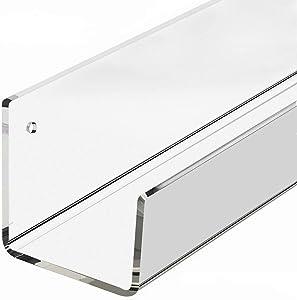 Floating Shelves, 4 Pack Clear Acrylic Floating Shelf for Bathroom Shelf, Home Wall Decoration, Display Rack ,Organizer - U Shape - Wall Ledge - Mounted (15 Inches)