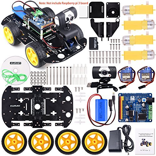 Kuman Professional Wifi Smart Robot Car kit for Raspberry Pi RC Remote Control Robotics Electronic Toys, Game Controlled by PC android ISO App with 8G SD Card SM9 by Kuman