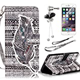 iPod Touch 5 Case,iPod Touch 6 Case,Sunroyal Noble Feather Diamond PU Leather Flip Wallet Case Cover with Removable Wrist Hand Strap & Kickstand Holder& Card Slots+ Screen Protector + Diamond Anti Dust Plug