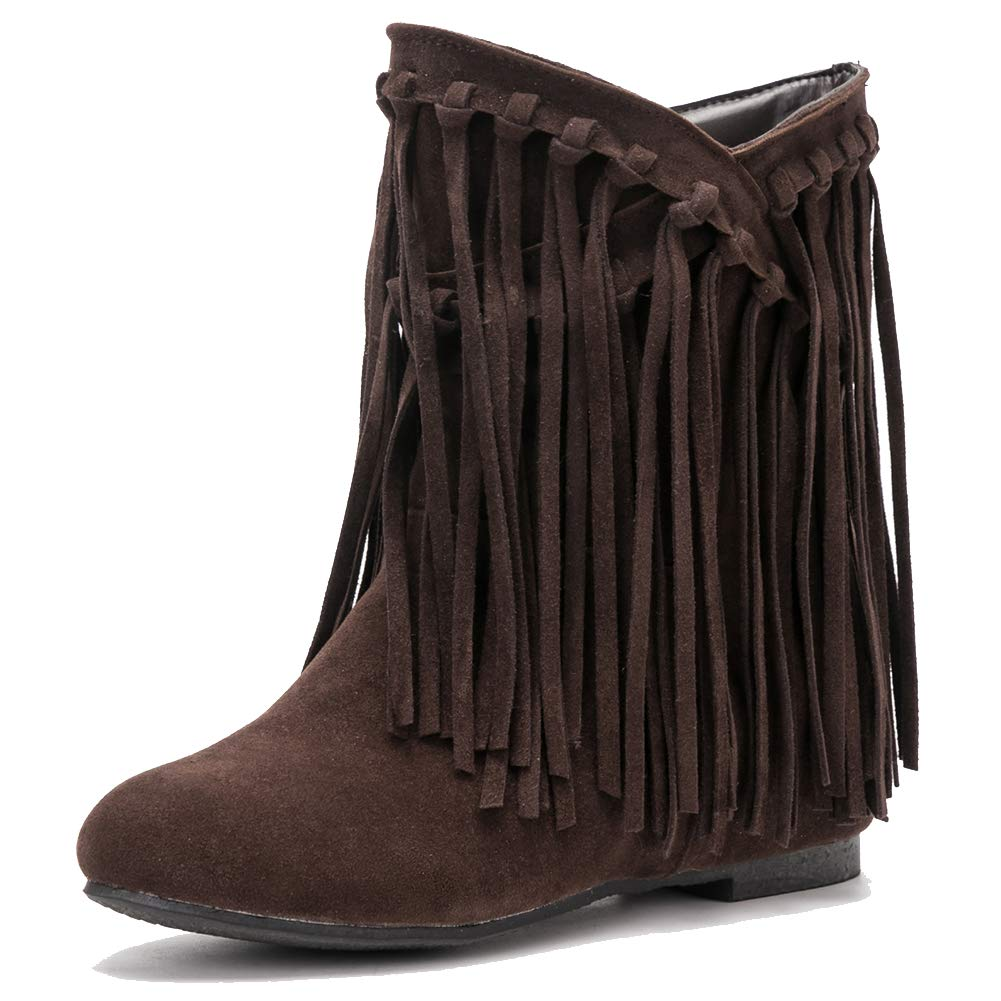 fereshte Womens Girls Fringe Hidden Wedge Heel Ankle Boots Tassel Bootie FNX-806-1-1071