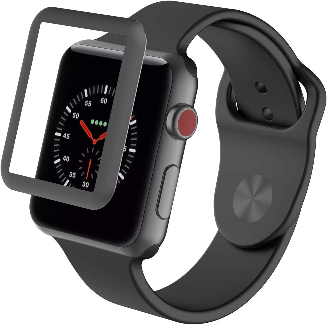 ZAGG InvisibleShield Glass Luxe HD Clarity + Reinforced, Tempered Glass Screen Protector for Apple Watch (42mm) Series 3 - Space Gray (200101304)