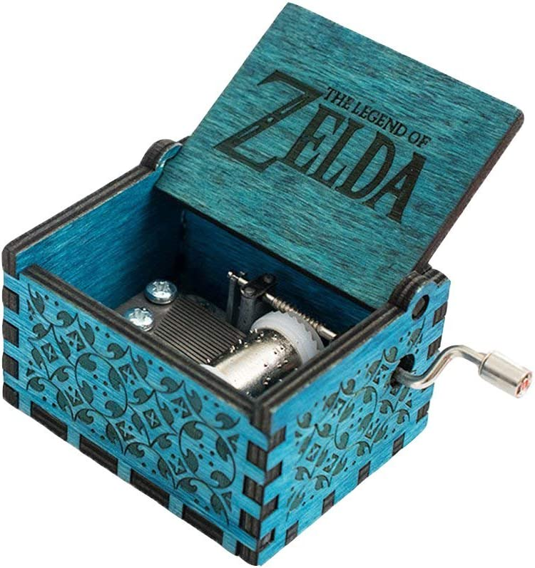 FnLy 18 Note Engraved Wooden Legend of Zelda Theme Music Box,Antique Carved Hand Crank Musical Box Gift,Blue