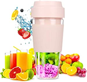 SITE Portable Shakes Smoothies Juice Blender Mini Single Serve Travel Personal Mixer Usb Rechargeable For Home Office Outdoors Sport,300 ML (Pink)