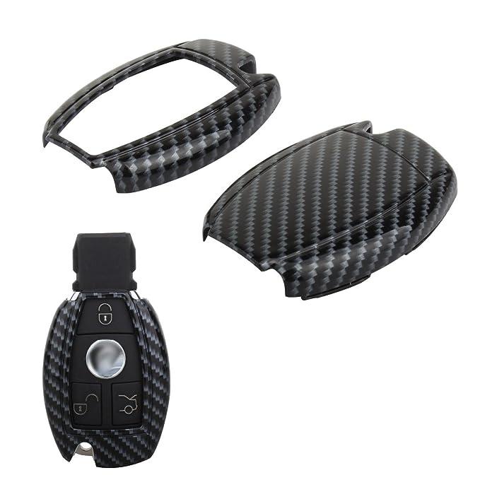 Happyit ABS Carbon Fiber Shell+Silicone Car Key Cover Case Keychain for Volkswagen VW Landbeat Passat Tiguan Jetta POLO Bora New Sutton 3 Buttons Remote Black + black