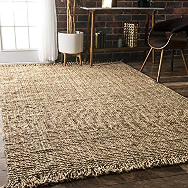 nuLOOM Natural Collection Chunky Loop Jute Casuals Natural Fibers Hand Woven Area Rug, 7.6 feet x 9.6 feet , Natural