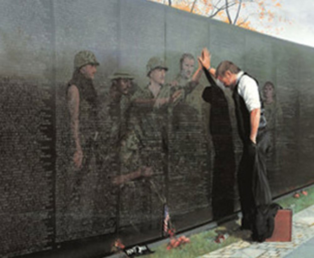 Reflections Lee Teter 32x25 Quality Framed Print Vietnam War Wall Memorial Picture
