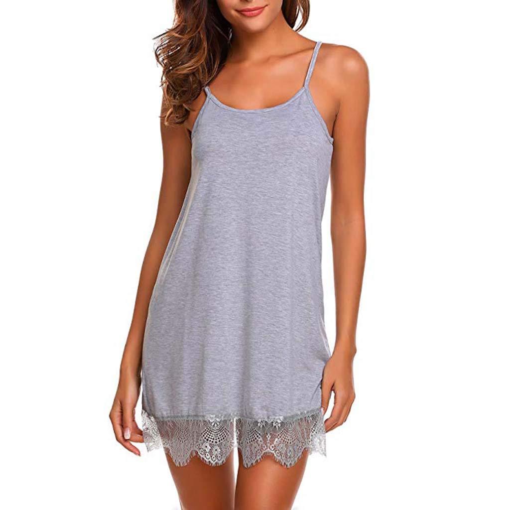 Womens Nightwear Sexy Lace Babydoll Sleepwear Sling Halter Nightgown Lingerie Underwear Nightdress (M, Gray)