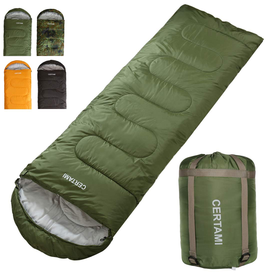 CERTAMI Sleeping Bag for Adults, Girls & Boys, Lightweight Waterproof Compact, Great for 4 Season Warm & Cold Weather, Perfect for Outdoor Backpacking, Camping, Hiking. (Army Green/Left Zip) by CERTAMI