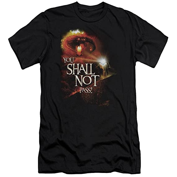 a7258d10 Lor - Mens You Shall Not Pass Premium Slim Fit T-Shirt: Amazon.co.uk ...
