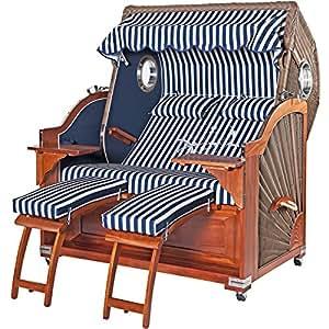 Premium playa cesta Kampen caoba Ojo de Buey–Luxus playa cesta de la Clase extra