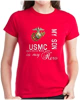 CafePress-USMC My Son MY Hero-Womens Cotton T-Shirt, Crew Neck, Comfortable & Soft Classic Tee