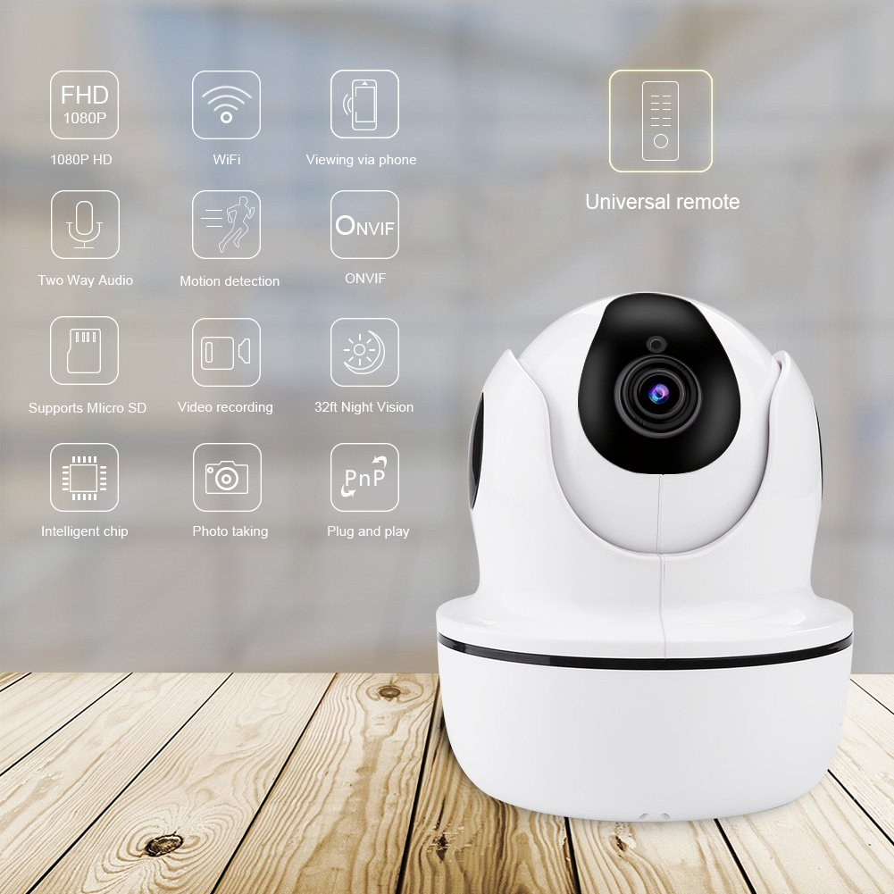 1080P HD Security Camera,Sea Wit Wireless IP Camera with Pan/Tilt/Zoom, Two Way Audio,Control Appliances,107°Viewing Angle,Night Vision,Home Surveillance Camera,Baby Pet Nanny Camera Puppy Cam –White by Sea Wit (Image #3)