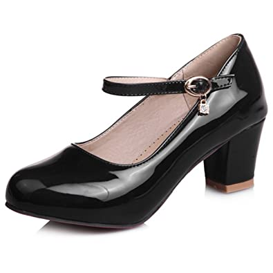 DecoStain Womens Causal Patent PU Leather Ankle Strap Mary Janes Block Mid Heel Pumps Shoes
