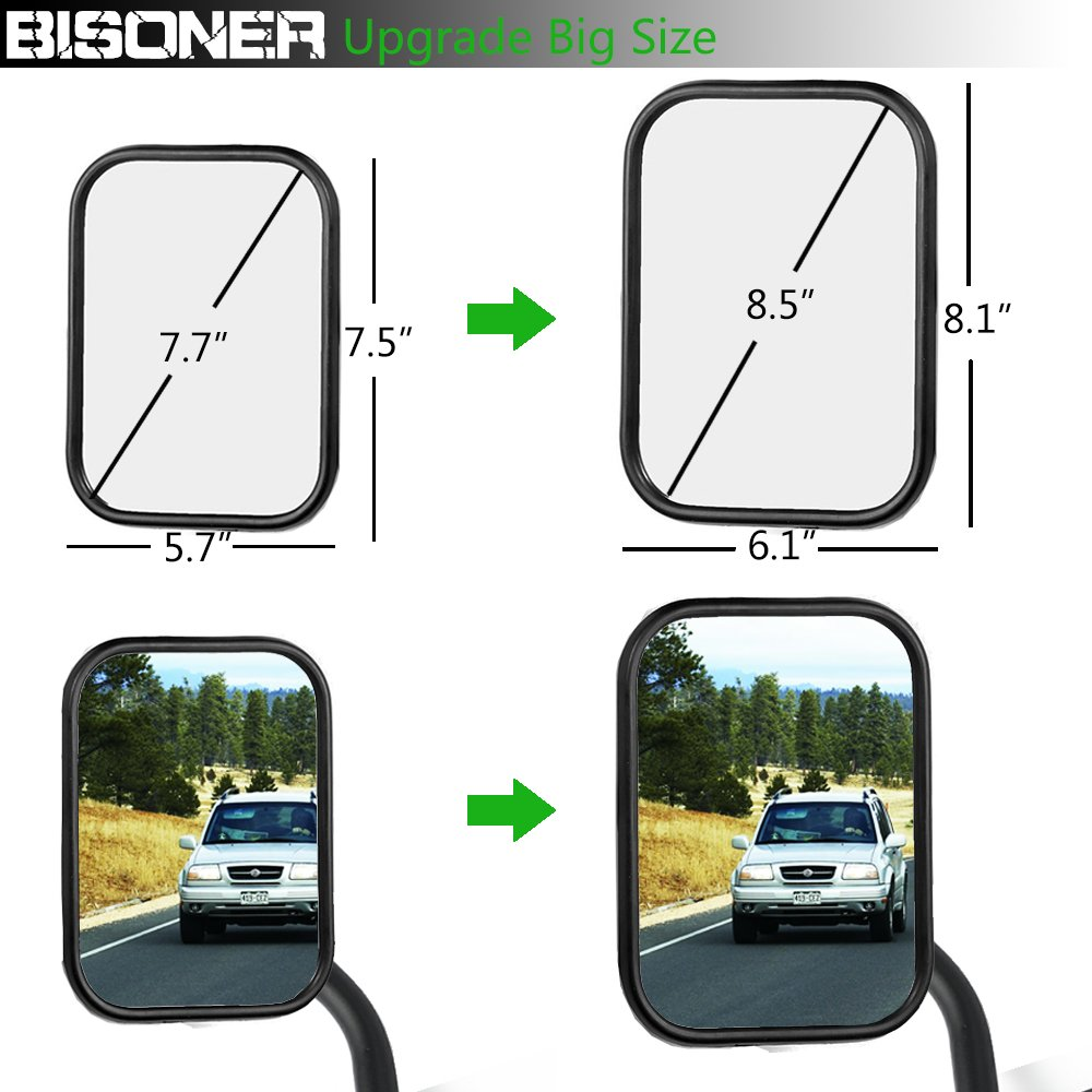 bisoner 1 Pair Shake-Proof Door Off Rectangular Adventure Side View Mirror Quick Release Hinge Mirrors fit for All Jeep Wrangler TJ JK JKU C,Textured Black