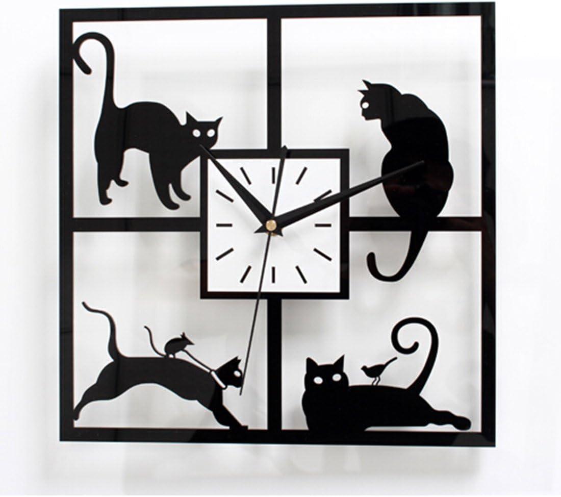 Mignon gato reloj Mode Creative reloj de pared campaña arte de historieta silenciosa: Amazon.es: Hogar