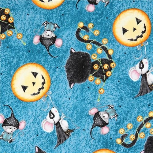 Quilting Treasures Halloween Fabric (blue pumpkin mouse Halloween fabric Charmed by Quilting Treasures (per 0.5 yard)