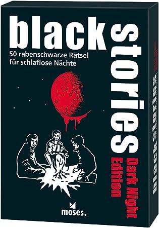 Moses. 109679 Black Stories Dark Night Edition | 50 acertijos. para Noches schlaflose | el Krimi Juego de Cartas, Multicolor: Amazon.es: Juguetes y juegos