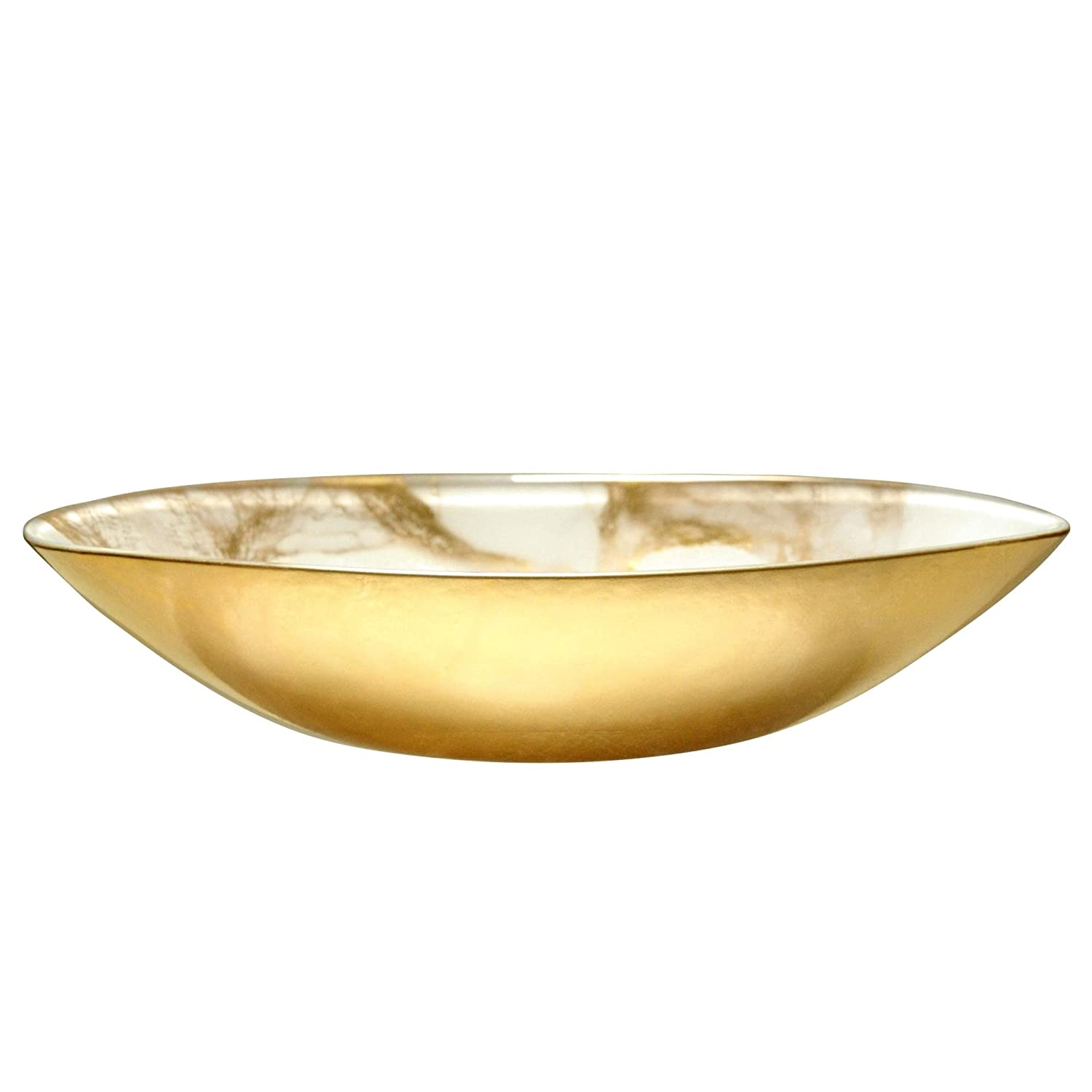 Red Pomegranate 3000-2 Thassos Oval Serving Bowl One Size Black//Gold