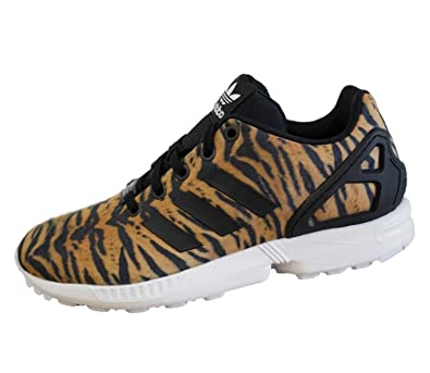 watch 6dd27 228e9 adidas Originals Kids ZX Flux Tiger Print Trainers UK 11.5