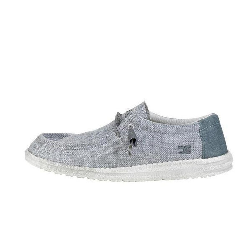 Hey Dude Men's Wally Woven Loafers-Grey White-12