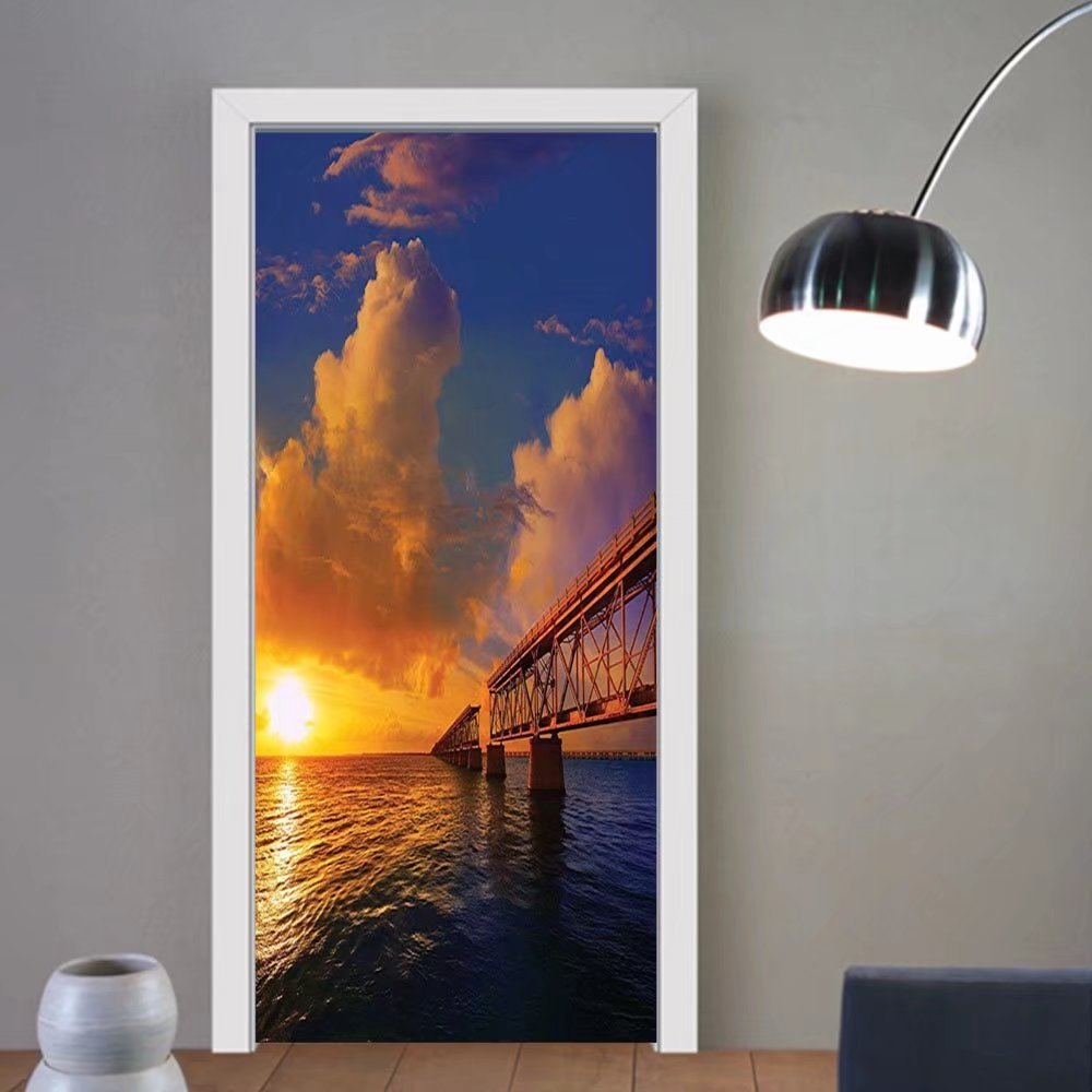 Gzhihine custom made 3d door stickers Cityscape Apartment Decor Florida Keys Old Bridge Sunset at Bahia Honda Park in USA Cloudscape Picture Inch Orange Blue For Room Decor 30x79 by Gzhihine