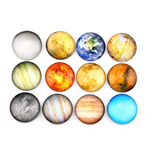 SINKSONS Planetary Refrigerator Magnets - 12 Pack Fridge Magnets, 1.35 Inches Diameter, Best Housewarming Home Decorations Gift.