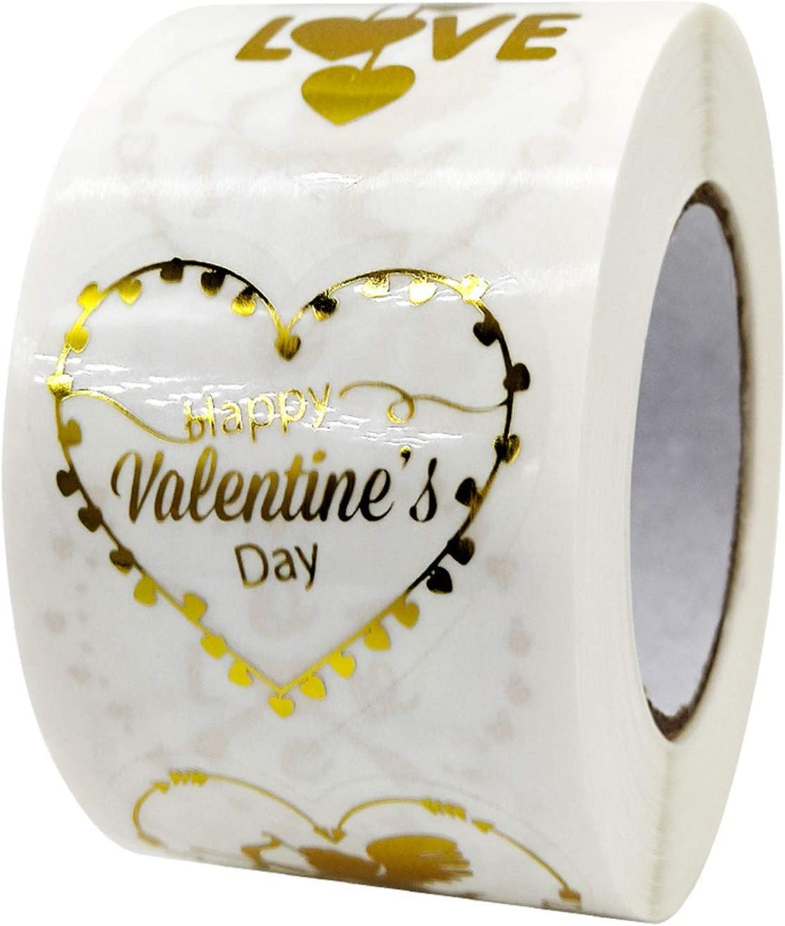 Heart Shap Transparent with Love,Angle and Happy Valentines Day Printed Love Heart Shaped Circle Sticker for Wedding Festival Gift Wrapping Jourad 1 Roll Labels Decorative Stickers