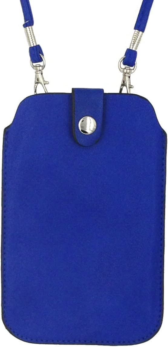 Royal Blue Style 3 Leather Neck Pouch for Phone